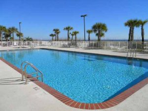 Gulf front pool at Regency Isle condo in Orange Beach Alabama
