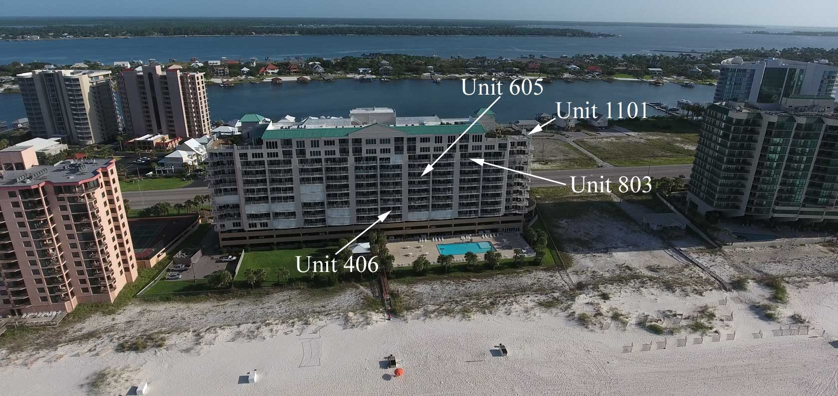 Aerial image of Regency Isle rental condos